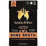 4 Mushroom Chicken Bone Broth- Collagen & Gelatin Rich Bonebroth for Ketogenic Diet or Paleo Keto Snack w Lion's Mane & 10g Protein. Gluten Free Gut & Digestive Friendly Nutrition from Ancient Source