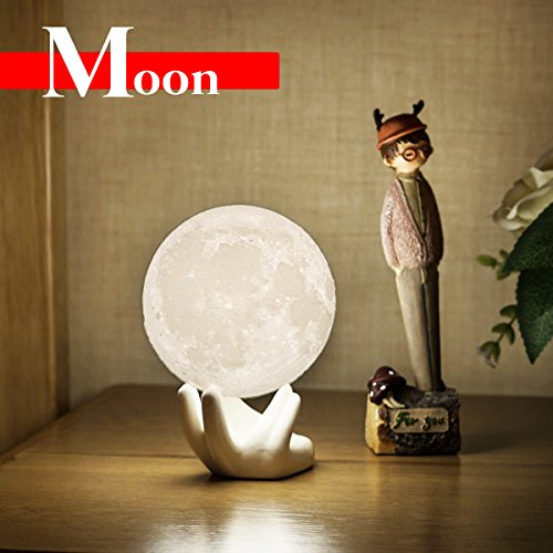 Child Ceramic (Moon Lamp 3D Children Moon Night Lights for Bedroom Bedside Lamp with Safe PLA,Eye Caring LED,USB Port Rechargeable,Adjustbale Brightness and Two Color,Touch Control (3.5IN with Ceramic Hand Base))