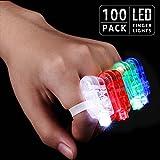 LED Finger Lights Party Favors, Bulk Toys for Easter, Halloween, Christmas, Carnival, Concert, Wedding, Labor Day, Veteran's Day, Pack of 100