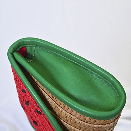 Bag Party Bags Small BA413 Straw Top Woman Day Knitting Handle Design Fresh Watermelon Purse Clutches BOBOMIMI Watermelon Lady Beach Clutch Handbag xqOwB68PS