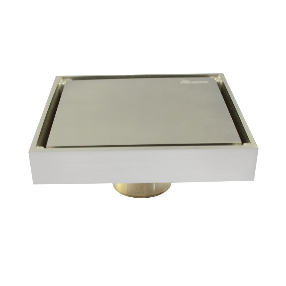 PHASAT Contemporary 4.7 inches Square Brass Floor Drain with Removable Cover Tile-insert Shower Floor Drain, Brushed Nickel Finish 817A01N