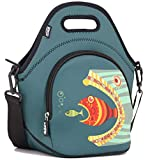 "Neoprene Lunch Bag Tote by QOGiR - Large 12"" x 12"" x 6.5"""
