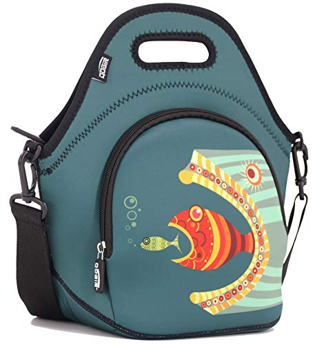 """QOGiR Insulated Neoprene Lunch Bag Tote with Zipper Pocket & Strap - Large 12"""" x 12"""" x 6.5"""" inch(Fits Containers up to 8""""Lx7""""Hx6""""W) ~Fish"""
