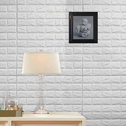 Wall Stickers 10PCS 3D Brick, PE Foam Self-Adhesive Wallpaper Removable and Waterproof Art Wall Tiles for Bedroom Living Room Background TV Decor ()