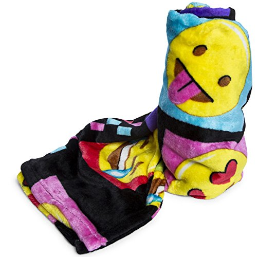 Emoji Faces Black Round Velvet Throw Blanket Kids Plush Soft Toy Toddlers Teens Emojies Expressions WILL Vary 50