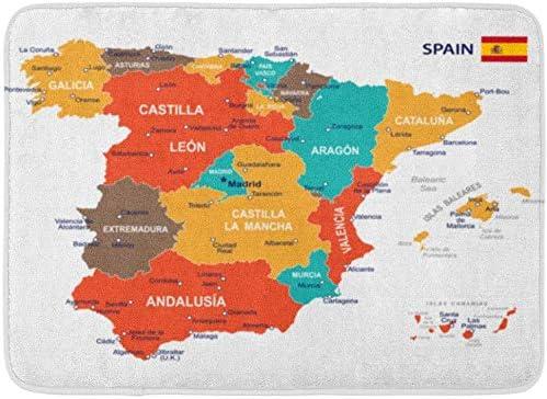ECNM56B Felpudos Alfombras de baño Alfombrilla Azul Barcelona de España Mapa Marrón Gobierno Español Ciudad Bandera Madrid 15.8