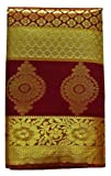 Ethnic Indian Women's Kanchipuram Pattu Silk Saree With Zari Border and Blouse (New collection, latest design) (Red)