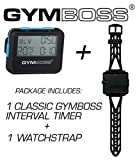 Gymboss Bundle - 2 Items: 1 Interval Timer and Stopwatch + 1 Watch Strap (Black w/Blue Buttons, One Size Fits All)