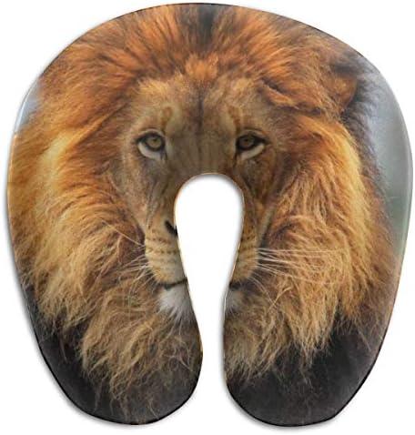 本物のライオンヘッド野生動物 ネックピロー U型首枕 高密度首枕 低反発首枕 メモリーフォーム 携帯枕 洗えるカバー トラベル枕 旅行用品 飛行機 新幹線 オフィス 収納ポーチ付