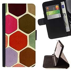 For Sony Xperia M2 Case , Escalas en colores pastel tortuga Hexágono Rosa Verde- la tarjeta de Crédito Slots PU Funda de cuero Monedero caso cubierta de piel