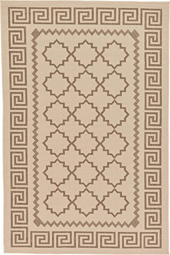 Transitional Key - Unique Loom Outdoor Collection Greek Key Border Geometric Indoor and Outdoor Transitional Beige Area Rug (5' x 8')