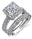 Metal Masters Co. Sterling Silver 925 Engagement Rings Wedding Band Bridal Set Princess-cut Cubic Zirconia 2pcs 5