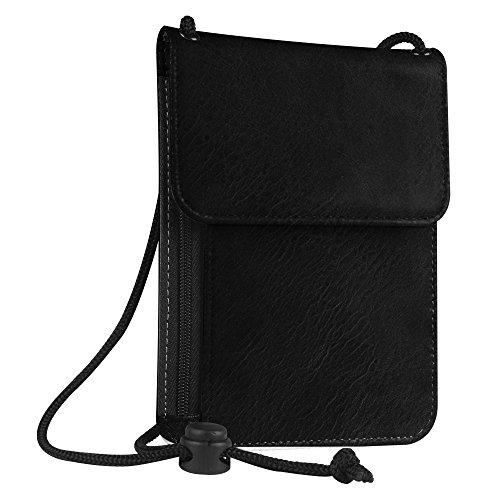 er Neck Pouch [RFID Blocking] Premium PU Leather Travel Wallet, Black (Black Naked Leather)