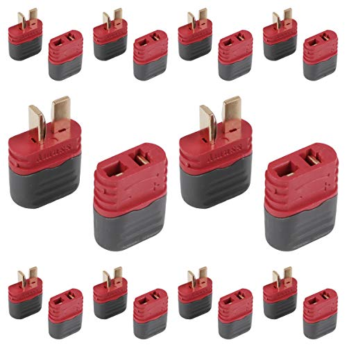Innovateking 20 Pcs Upgraded T Plug Connectors Deans Style with Protection Cover for RC LiPo Battery Motor ESC Controller of RC Car Plane (10 Male Connectors and 10 Female Connectors) (Dean Connectors)