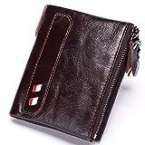 Men's leather wallet, short double zipper clutch, top layer leather double zip wallet, multi-function coin purse, best men's gift,Brown