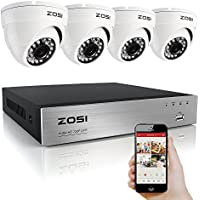 ZOSI 4CH HD 720P Video Security System and (4) HD 1.0MP 1280TVL Surveillance Weatherproof Metal Housing CCTV Cameras with 65ft Night Vision, NO Hard Drive