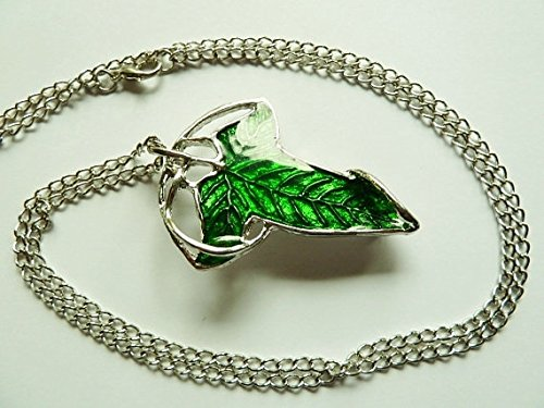 Lotr Galadriel Costume (Discounted Green Elven Leaf Brooch Clasp Pendant Necklace Lord of The Rings Woodland Enamel Leaf le seigneur des anneaux LOTR Fan Hobbit)