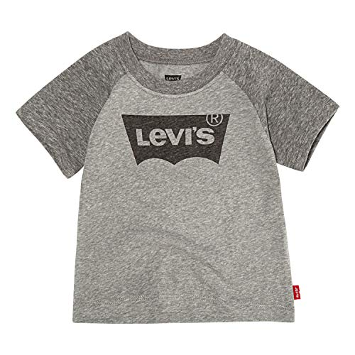 (Levi's unisex-baby Batwing T-Shirt, Charcoal/Grey Heather Snow Yarn, 18M)