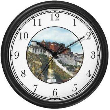 Potala Palace Tibet JP6 Famous Lankmarks Clock by WatchBuddy Timepieces Black Frame
