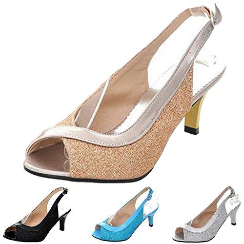 Nonbrand Ladies shiny peep toe slingback sandals low heel party shoes Blue CxiNExa