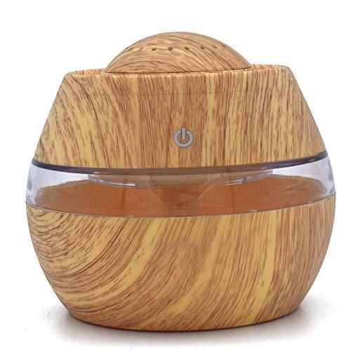 Gusspower Humidificador Aromaterapia Ultrasónico, Difusor de Aceites Esenciales 300ml, 7-Color LED, Seguro y Elegante, Auto-Apaga, purificar el aire y ...
