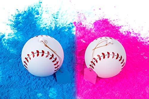 Gender Reveal Baseball Set – 2 Balls – Pink and Blue Exploding with Powder Plus 20 Pink Blue Baby Gender Voting Stickers