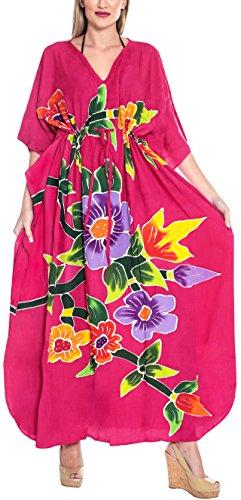 LA LEELA Maxi Printed Caftans for Women Long Kaftan Sleepwear Pink_O667 One Size ()