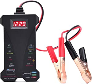 AUTDER Car Battery Tester 12V Digital Battery Tester Voltmeter and Alternator Charging System Analyzer Test Battery Condition & Alternator Charging with LCD Display and LED Indication,Lead Length 13.5