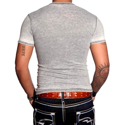 R-NEAL Clubwear Kurzarm Herren V-Neck T-Shirt Washed Optik Shirt RTN-16702 NEU, Größe:S, Farbe:Rot
