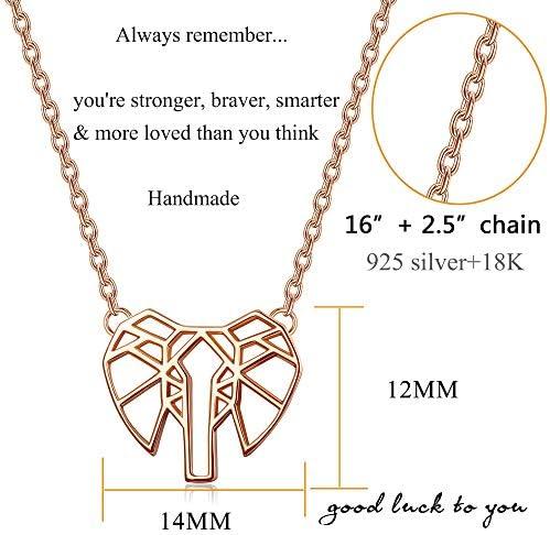 Regalo Collar De Elefante De Origami 18K Oro Oro Rosa O Plata Plateado