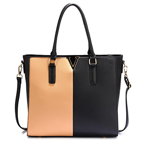 Women Tote Bag Leather Shoulder Bag Fashion Look Designer Nude Style New Design 1 Female Ladies Large Faux Handbag For Black 7pwC7q