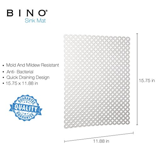 BINO Anti-Bacterial Kitchen Sink Protector Mat, Clear - Eco-Friendly - Mold and Mildew Resistant with Quick Draining Design