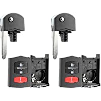 KeylessOption Keyless Entry Remote Key Fob Shell Case Button Pad Flip Key Cover Housing For Mazda (Pack of 2)