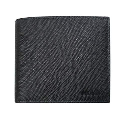 Prada Black Saffiano 1 Leather Billfold Bi-fold Credit Card Wallet 2MO513