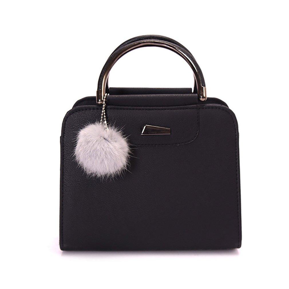 EUNOMIA Crossbody Handbag, Women Faux Leather Shoulder Bag with Plush ball decor (Black)