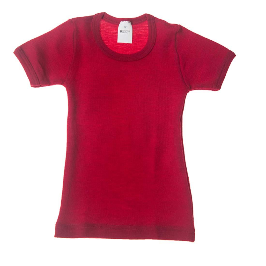 Hocosa of Switzerland Little Kids Organic Wool Short-Sleeved Undershirt, Solid Red, s.116/6 yr by Hocosa of Switzerland