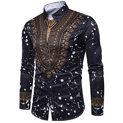 Cloudstyle Mens Dashiki Button Down Slim Fit African Ethnic Printed Long Sleeve Dress Shirt Black
