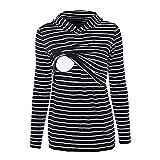 Hattfart Women's Maternity Sweater Clothes Nursing Striped Sweatshirt Breastfeeding Hoodie Sweatshirt (M, Navy)
