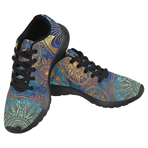 InterestPrint Women's Jogging Running Sneaker Lightweight Go Easy Walking Casual Comfort Running Shoes Size 12 Circles Floral Ornament In Blue, Orange and Gold Colors Review