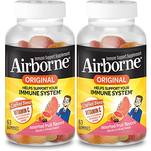 Airborne Vitamin C 750mg (per Serving) - Flavored Gummies (63 in a Bottle) (2 Pack), Gluten-Free Immune Support Supplement with Vitamins A C E, Selenium, Echinacea & Ginger Assorted Fruit 126 Count