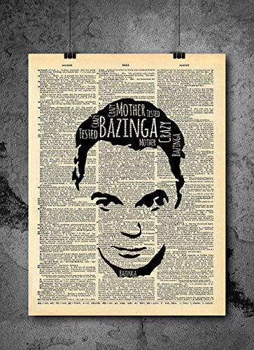Big Bang Theory Sheldon Quote Vintage Art - Bazinga - Authentic Upcycled Dictionary Art Print - Home or Office Decor - No Frame (Big Bang Theory Wall Art)