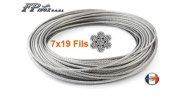 Longitud 10 m 7 x 7 20 m 100 m Acero Inoxidable 316 250 m 70 m 50 m Corona de 20 m FP INOX Cable de 5 mm de Acero Inoxidable 316 Flexible Rollo de 100 m