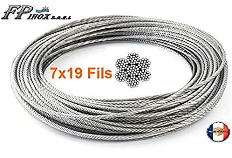 FP Inox - Cable de acero inoxidable 316 (4 mm, 7 x 19, A4 ...