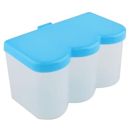sourcing map cocina de plástico 3 células especias envase caja condimento dispensador titular azul