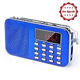 [Upgraded Version]PRUNUS Mini Portable Ultrathin AM / FM MP3 Radio with Emergency flashlight