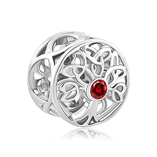 LovelyJewelry Sterling Silver Tree of Life Celtic Knot Charm Jan Birthstone Beads For Bracelet ()
