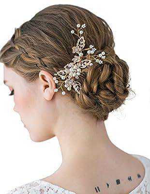 SWEETV Handmade Wedding Hair Comb Clip Pearl Rhinestone Hairpin Bridal Hair Accessories