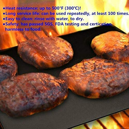 showsing Tapis de Cuisson,Tapis Barbecue 40x33cm Antiadhésif et Réutilisable Barbecue Tapis pour Barbecue gaz Charbon électrique 6PCS