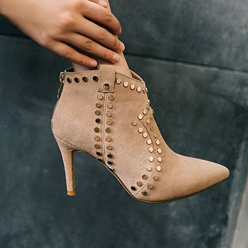 KHSKX-Female With Fine High-Heeled Boots 9A11C Pointed Rivet Frosted Leather Boot Single Boots Apricot MWYIT
