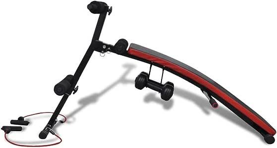 Festnight Adjustable Multifunctional Sit Up Bench with 3 kg Dumbbells 135 x 58 x 65 cm